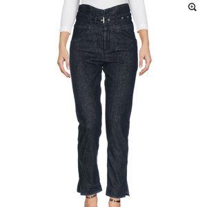 Isabel Marant Black high-waisted belted jeans